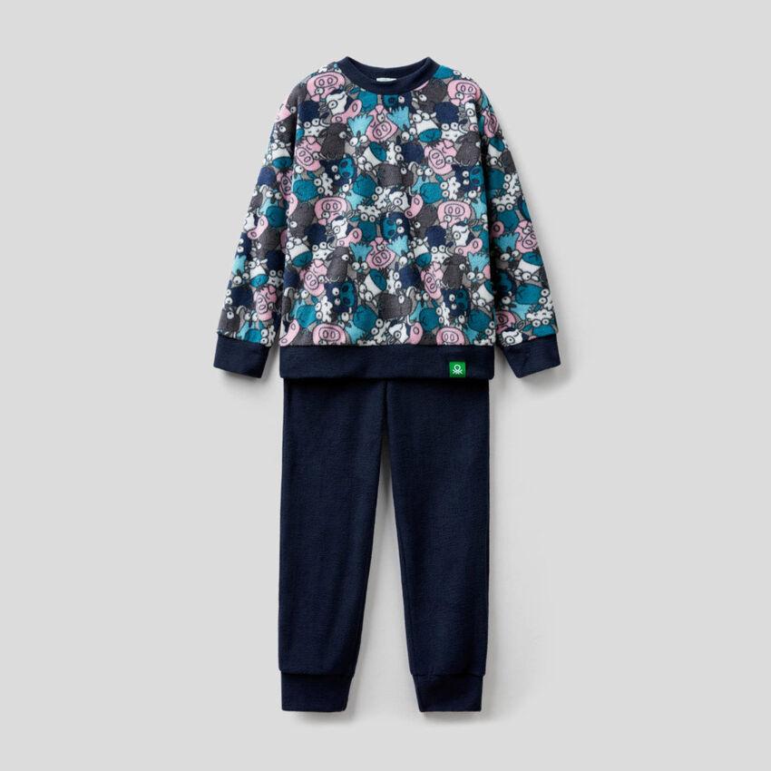 Pyjama en polaire avec top imprimé