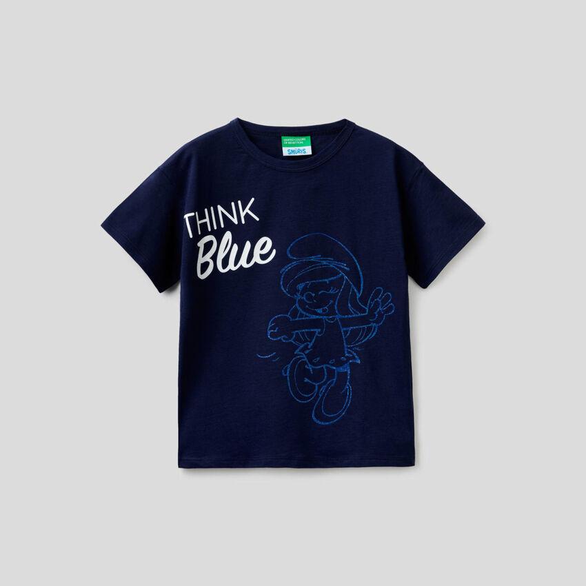 T-shirt bleu foncé coupe boxy avec imprimé Les Schtroumpfs