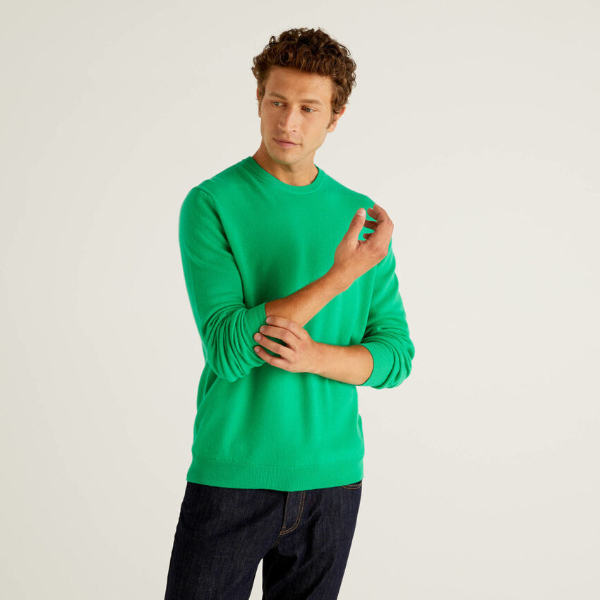 Pull col rond vert en pure laine vierge