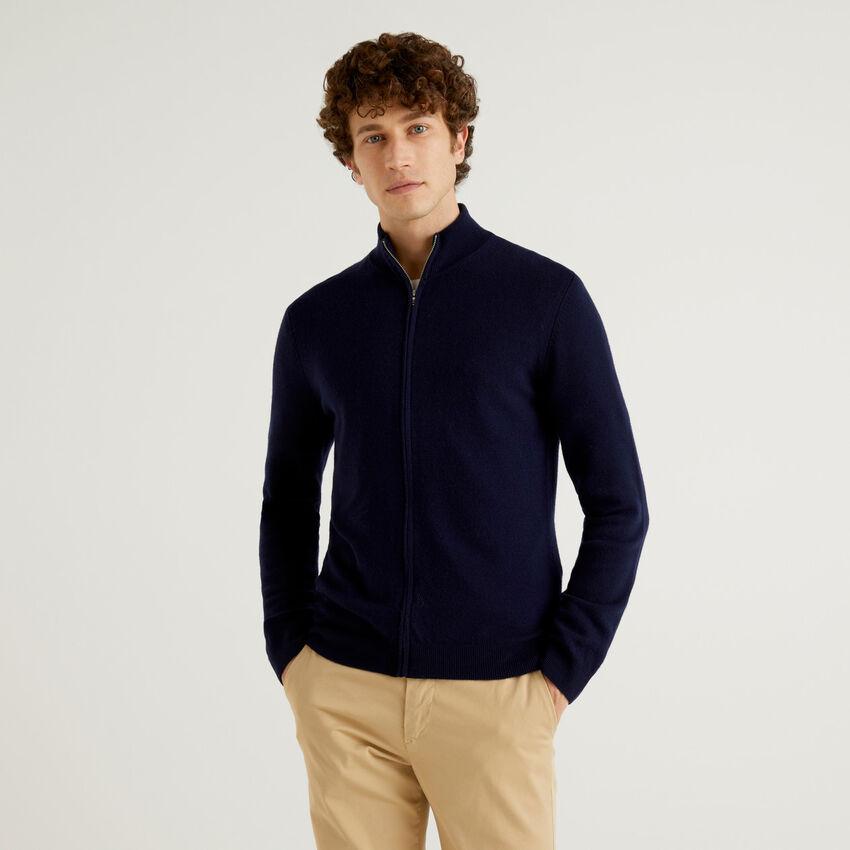 Gilet zippé bleu foncé en pure laine vierge