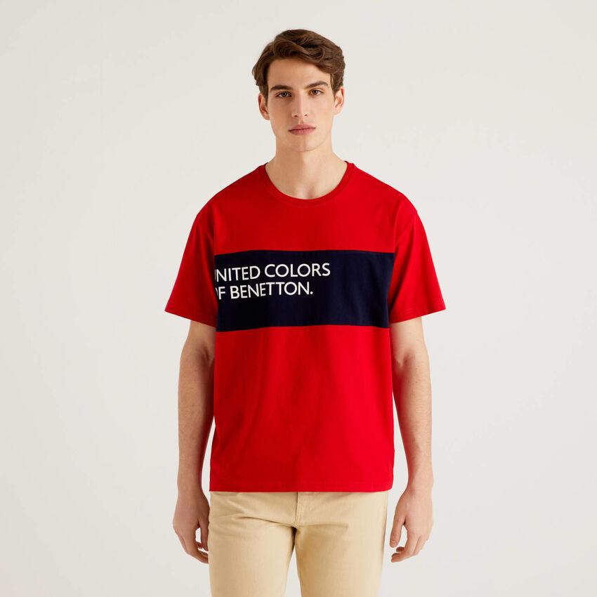 T-shirt 100% coton avec bande de couleur contrastée