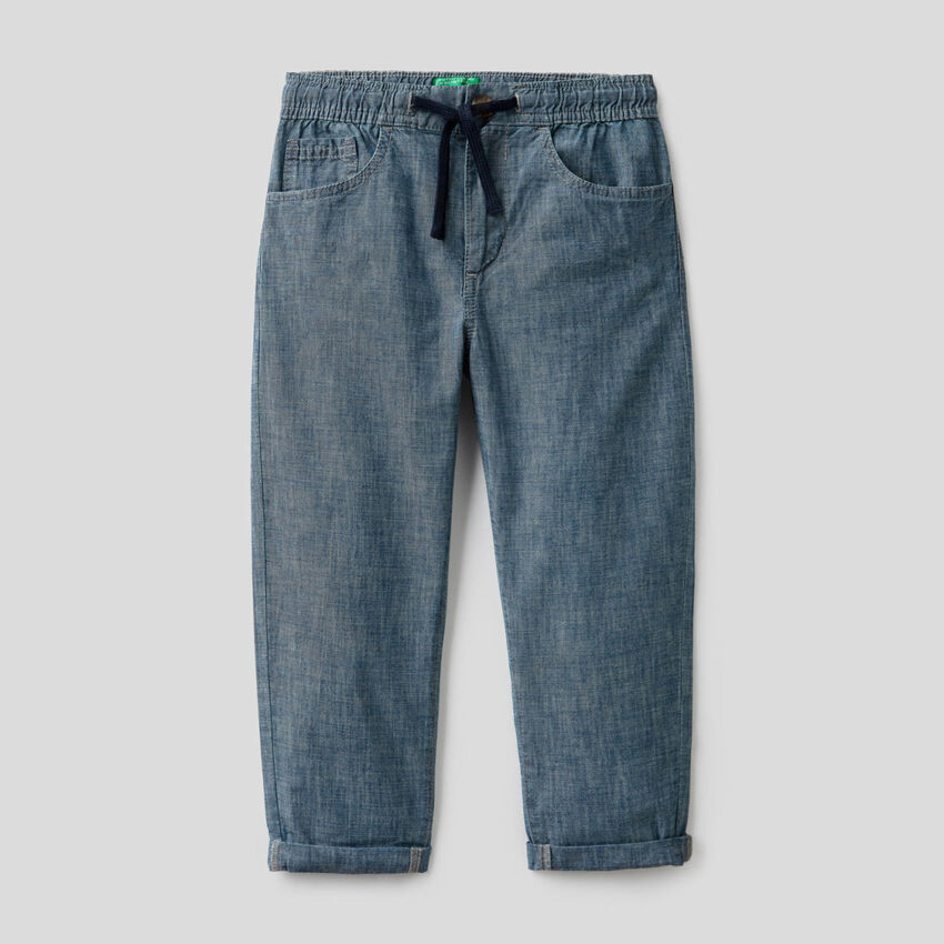 Pantalon en chambray de pur coton bio